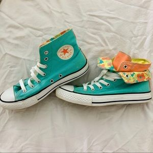 Converse mint green blue layered sneakers